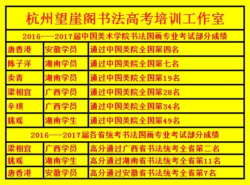 杭州望崖阁书法高考培训班2016-2017届学生书法高考成绩